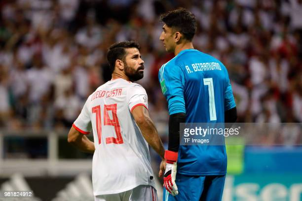 Diego Costa of Spain and Alireza Beiranvand of Iran look on during the 2018 FIFA World Cup Russia group B match between Iran and Spain at Kazan Arena...
