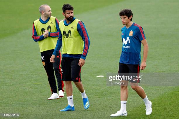 Diego Costa of Spain Andres Iniesta of Spain and Jesus Vallejo of Spain look on during a training session on May 29 2018 in Madrid Spain
