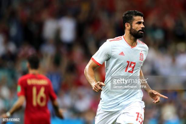 Diego Costa of Spain celebrates after scoring his team's first goal during the 2018 FIFA World Cup Russia group B match between Portugal and Spain at...