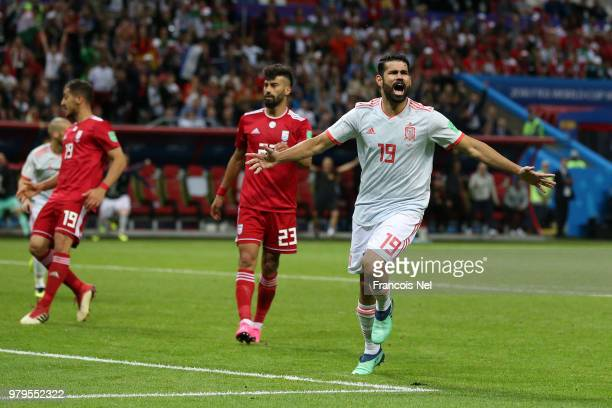 Diego Costa of Spain celebrates after scoring his team's first goal during the 2018 FIFA World Cup Russia group B match between Iran and Spain at...