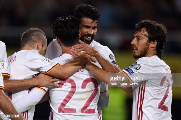 Diego Costa of Spain celebrates after scoring his team's second goal during the FIFA 2018 World Cup Qualifier between FYR Macedonia and Spain at...