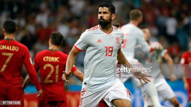 Diego Costa of Spain celebrates after scoring his team's second goal during the 2018 FIFA World Cup Russia group B match between Portugal and Spain...