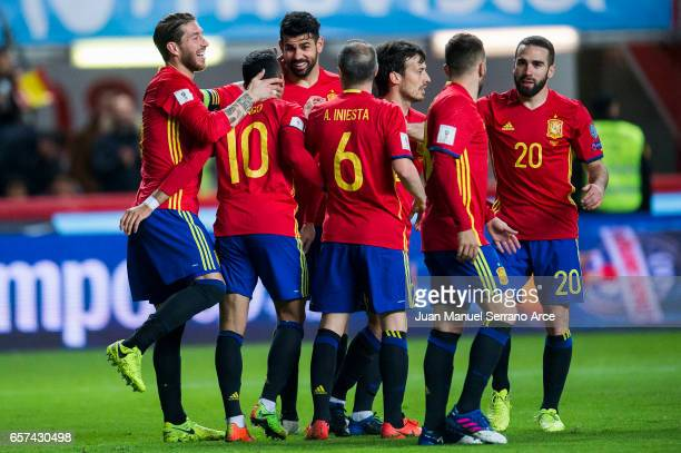 Diego Costa of Spain celebrates after scoring his team's third goal during the FIFA 2018 World Cup Qualifier between Spain and Israel at Estadio El...