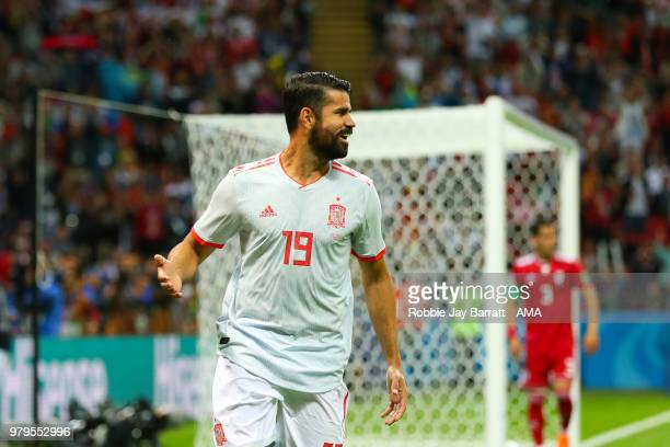 Diego Costa of Spain celebrates scoring a goal to make it 01 during the 2018 FIFA World Cup Russia group B match between Iran and Spain at Kazan...