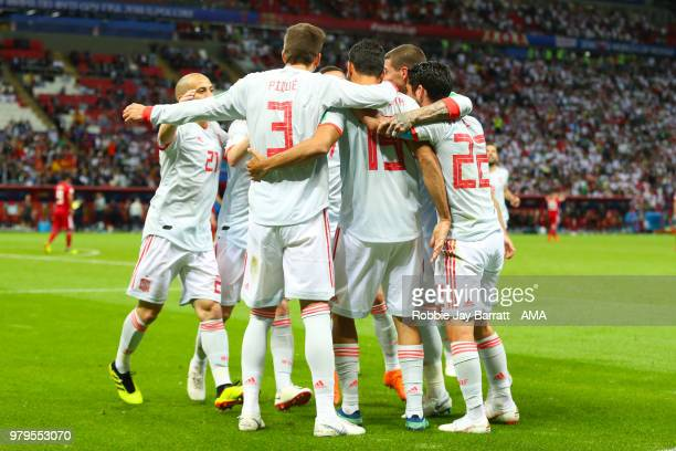 Diego Costa of Spain celebrates scoring a goal to make it 01 with his teammates during the 2018 FIFA World Cup Russia group B match between Iran and...