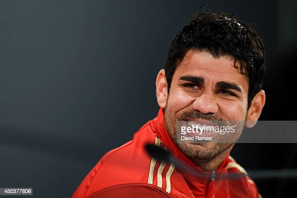 Diego Costa of Spain faces the media during a Spain press conference at Centro de Entrenamiento do Caju on June 10 2014 in Curitiba Brazil