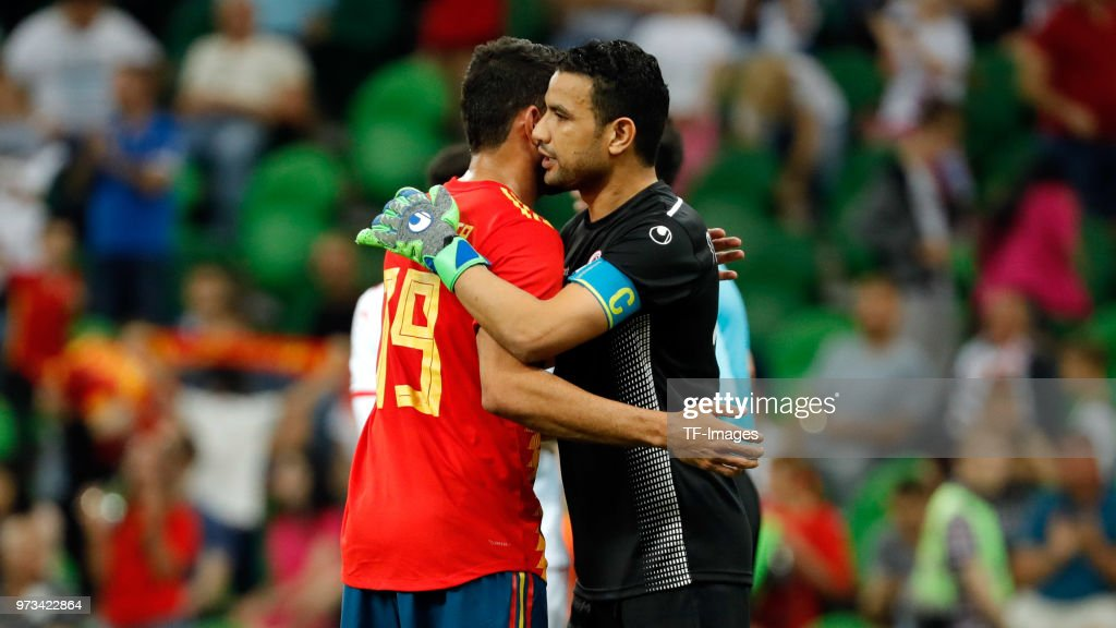 Diego Costa of Spain hugs Aymen Mathlouthi of Tunisia during the friendly match between Spain and Tunisia at Krasnodar's stadium on June 9, 2018 in Krasnodar, Russia.