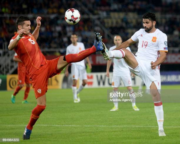 Diego Costa of Spain in action against Daniel Mojsov of Macedonia during the FIFA 2018 World Cup Qualifiers Group G match between Macedonia and Spain...