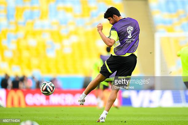 Diego Costa of Spain in action during a Spain training session ahead of their 2014 FIFA World Cup Group B match against Chile at Maracana on June 17...