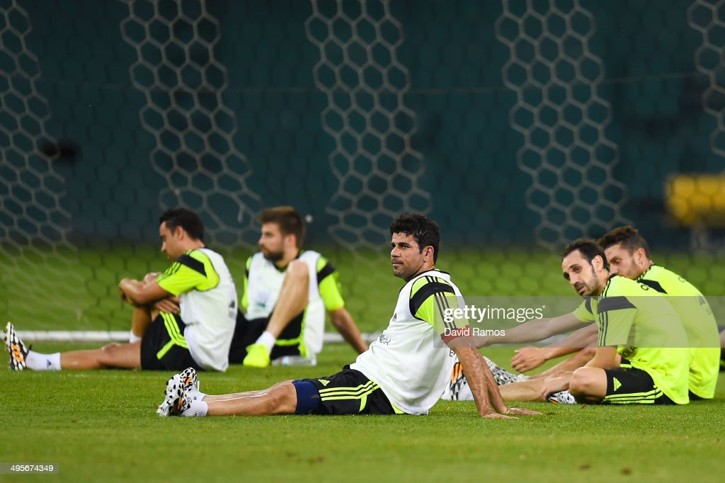 Diego Costa of Spain looks on during a training session of the Spain National Team at the Robert F. Kennedy Stadium on June 4, 2014 in Washington, DC.