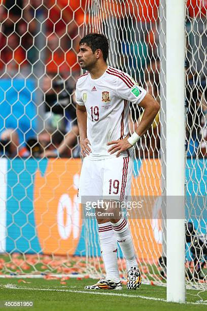 Diego Costa of Spain looks on during the 2014 FIFA World Cup Brazil Group B match between Spain and Netherlands at Arena Fonte Nova on June 13 2014...
