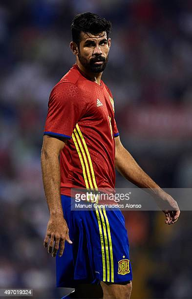Diego Costa of Spain looks on during the international friendly match between Spain and England at Jose Rico Perez Stadium on November 13 2015 in...