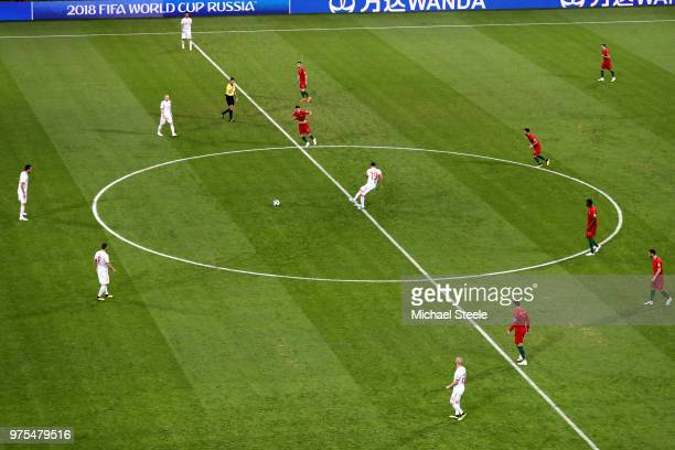 Diego Costa of Spain passes thje ballat kick off during the 2018 FIFA World Cup Russia group B match between Portugal and Spain at Fisht Stadium on...