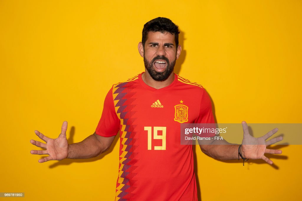 Diego Costa of Spain poses for a portrait during the official FIFA World Cup 2018 portrait session at FC Krasnodar Academy on June 8, 2018 in Krasnodar, Russia.