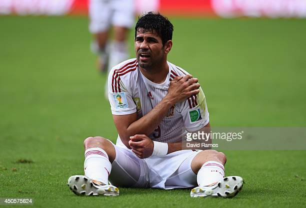 Diego Costa of Spain reacts during the 2014 FIFA World Cup Brazil Group B match between Spain and Netherlands at Arena Fonte Nova on June 13 2014 in...