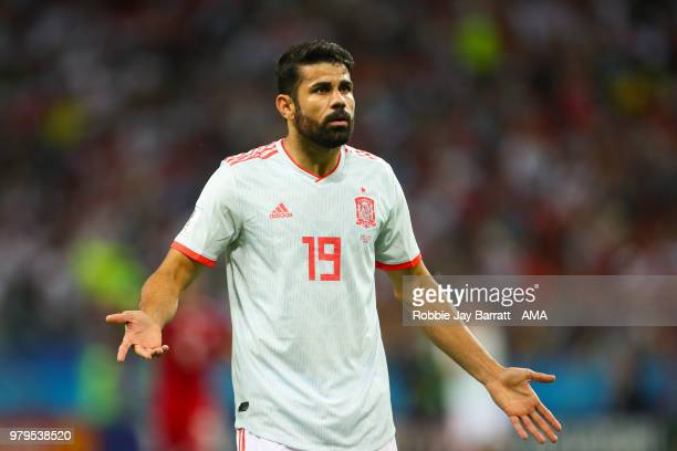 Diego Costa of Spain reacts during the 2018 FIFA World Cup Russia group B match between Iran and Spain at Kazan Arena on June 20, 2018 in Kazan,...