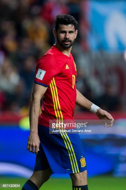 Diego Costa of Spain reacts during the FIFA 2018 World Cup Qualifier between Spain and Israel at Estadio El Molinon on March 24 2017 in Gijon Spain