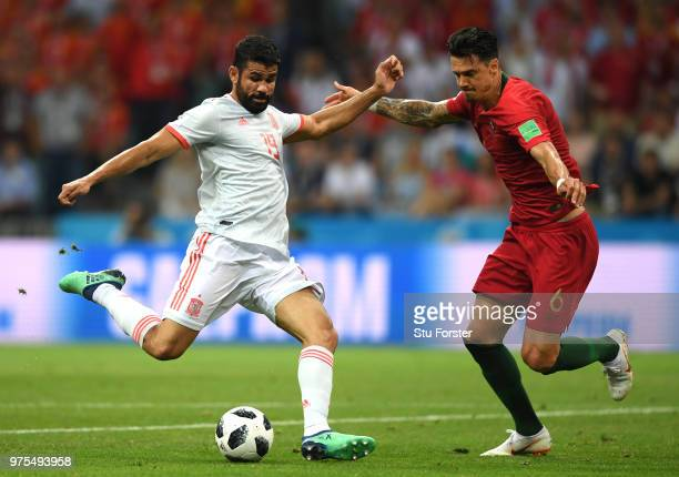 Diego Costa of Spain scores his team's first goal during the 2018 FIFA World Cup Russia group B match between Portugal and Spain at Fisht Stadium on...
