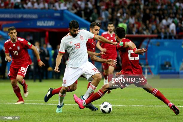 Diego Costa of Spain scores his team's first goal during the 2018 FIFA World Cup Russia group B match between Iran and Spain at Kazan Arena on June...