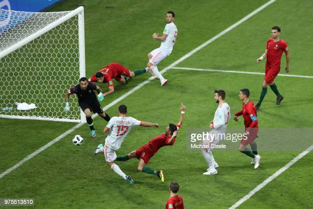 Diego Costa of Spain scores his team's second goal during the 2018 FIFA World Cup Russia group B match between Portugal and Spain at Fisht Stadium on...