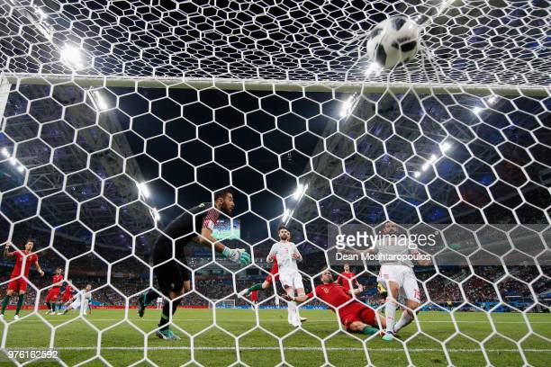 Diego Costa of Spain scores his team's second goal past Rui Patricio of Portugal during the 2018 FIFA World Cup Russia group B match between Portugal...