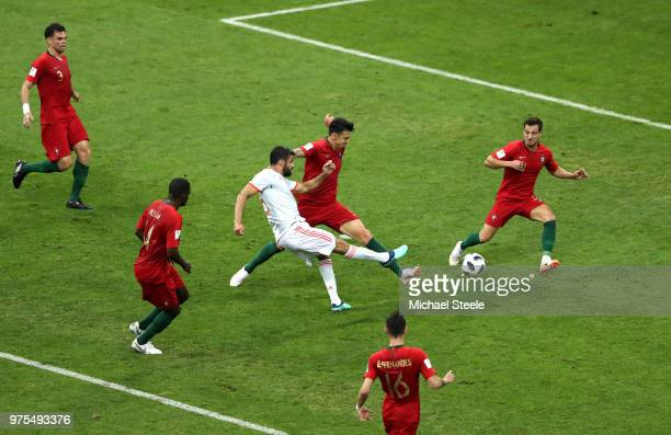 Diego Costa of Spain scores the equalising goal to make the score 11 during the 2018 FIFA World Cup Russia group B match between Portugal and Spain...