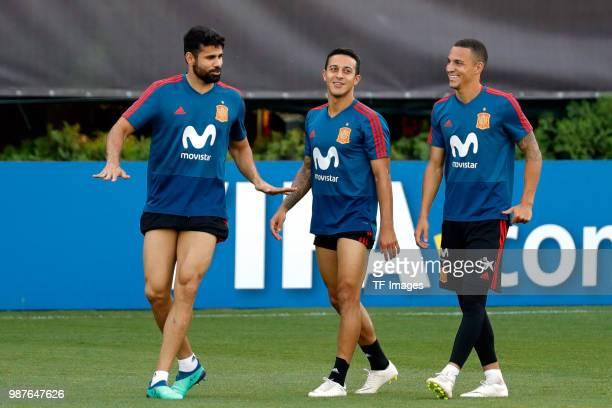 Diego Costa of Spain Thiago Alcantara of Spain and Rodrigo Moreno of Spain laugh during a training session on June 27 2018 in Krasnodar Russia