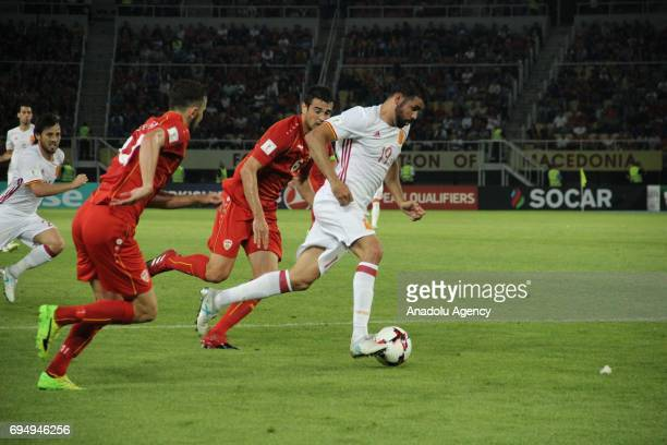 Diego Costa of Spanish National Football Team in action during the FIFA 2018 World Cup Qualifiers Group G match between Macedonia and Spain at Philip...