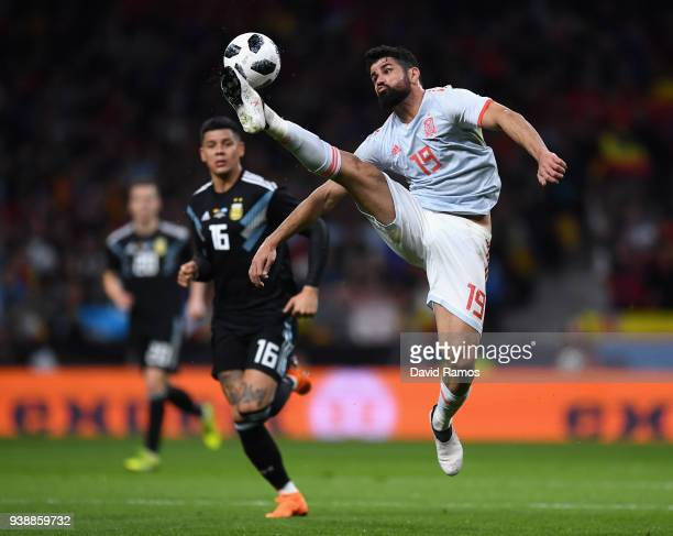 Diego Da Silva Costa of Spain controls the ball during the International Friendly between Spain and Argentina on March 27 2018 in Madrid Spain