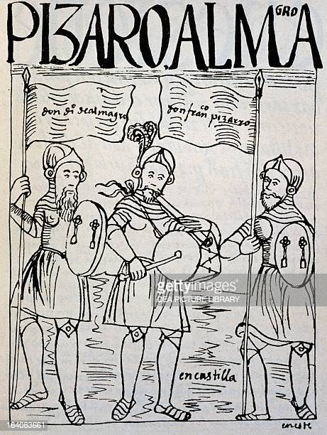 Diego de Almagro and Francisco Pizarro recruiting volunteers in Castile for the conquest of Peru engraving from The first new chronicle and good...