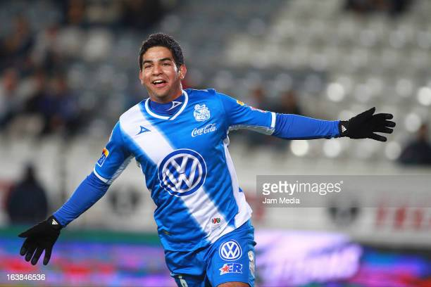 Diego de Buen of Puebla celebrates a scored goal during a match Clausura 2013 Liga MX at Hidalgo Stadium on march 16 2012 in Pachuca Mexico