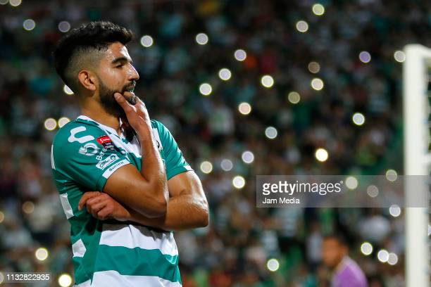 Diego de Buen of Santos celebrates after scoring the fifth goal during a round of sixteen second leg match between Santos Laguna and Marathón as part...