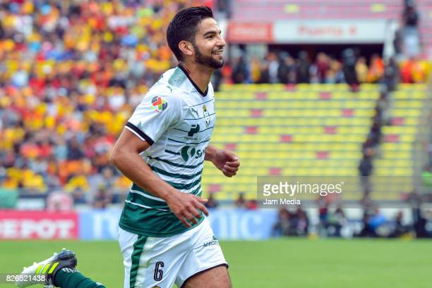 Diego de Buen of Santos celebrates after scoring the first goal of his team during the 3rd round match between Morelia and Santos as part of the...