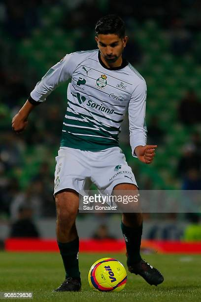 Diego de Buen of Santos passes the ball during the 3rd round match between Santos Laguna and Morelia as part of the Torneo Clausura 2018 Liga MX at...