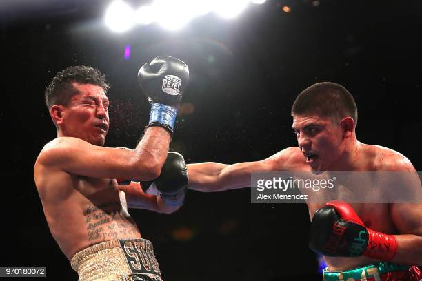 Diego De La Hoya punches Jose Salgado during the Golden Boy on ESPN fight night at Turning Stone Resort Casino on June 8 2018 in Verona New York