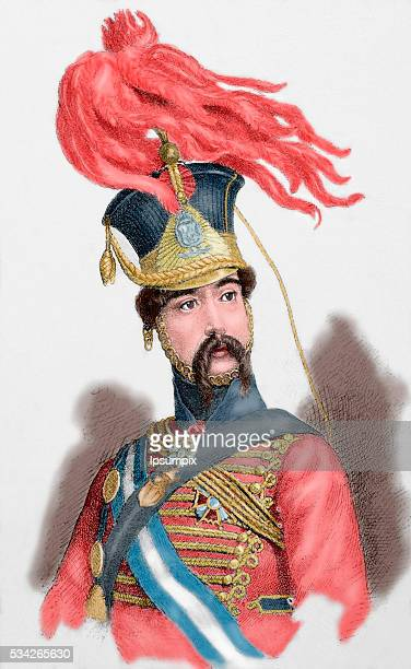 Diego de Leon Count of Belascoain Spanish military Engraving Colored