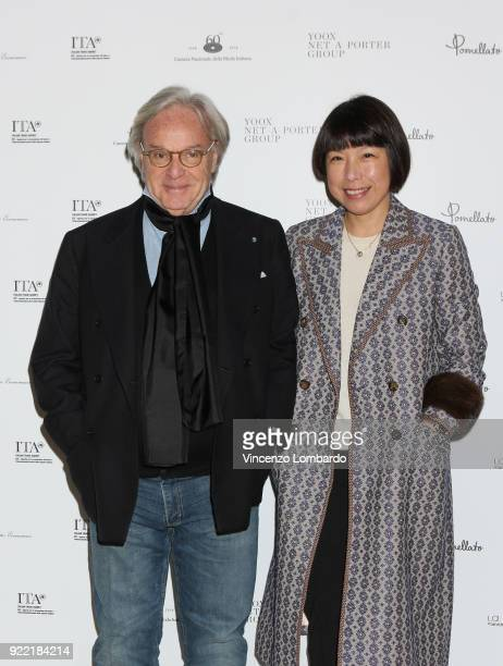 Diego Della Valle and Angelica Cheung attend 'Italiana L'Italia Vista Dalla Moda 19712001' exhibition preview during Milan Fashion Week Fall/Winter...