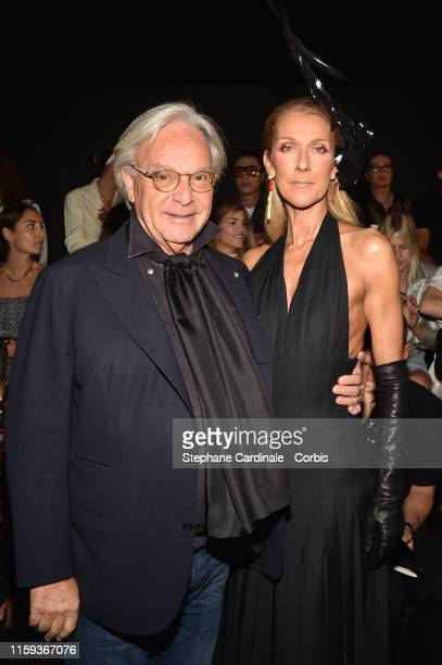 Diego Della Valle and Celine Dion attend the Schiaparelli Haute Couture Fall/Winter 2019 2020 show as part of Paris Fashion Week on July 01 2019 in...