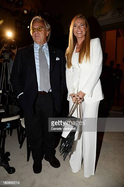 Diego Della Valle and Federica Panicucci attend the Fay show as a part of Milan Fashion Week Womenswear Spring/Summer 2014 on September 18, 2013 in...