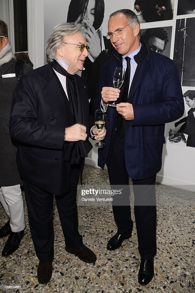 Diego della Valle and Sergio Dompe attend the 'So Chic So Stylish' cocktail party as part of Milan Fashion Week Menswear Autumn/Winter 2013 on January 14, 2013 in Milan, Italy.