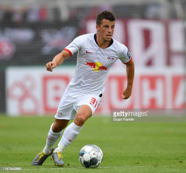 Diego Demme of Leipzig in action during the DFB Cup first round match between VfL Osnabrueck and RB Leipzig at Stadion an der Bremer Brücke on August...