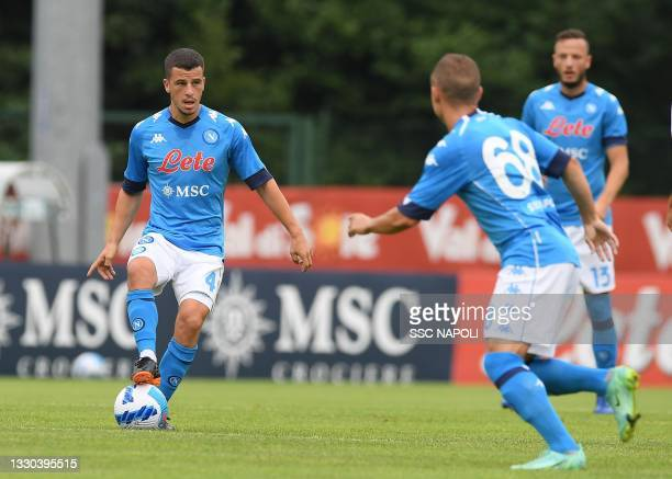 Diego Demme of Napoli during a pre- season friendly between SSC Napoli and Pro Vercelli on July 24, 2021 in Dimaro, Italy.