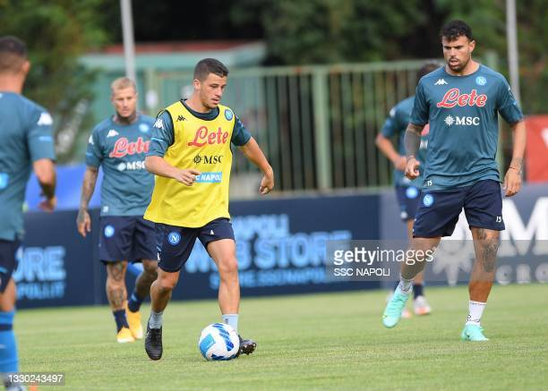 Diego Demme of Napoli during an SSC Napoli training session on July 23, 2021 in Dimaro, Italy.