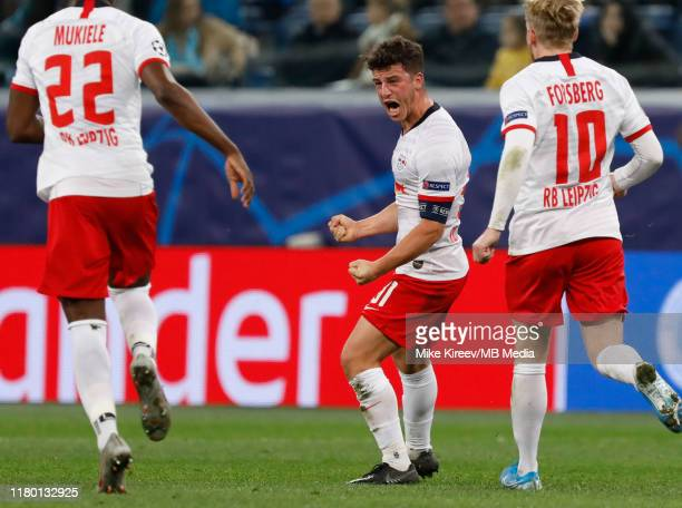 Diego Demme of RB Leipzig celebrates his goal during the UEFA Champions League group G match between Zenit St Petersburg and RB Leipzig at Gazprom...
