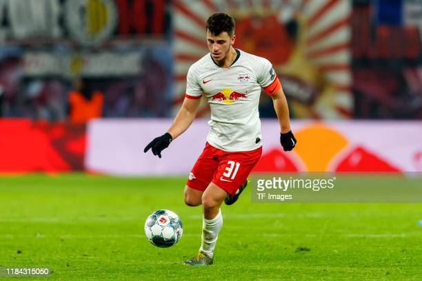 Diego Demme of RB Leipzig controls the ball during the Bundesliga match between RB Leipzig and 1 FC Koeln at Red Bull Arena on November 23 2019 in...