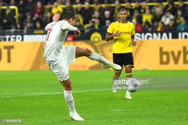 Diego Demme of RB Leipzig scores his team's third goal during the Bundesliga match between Borussia Dortmund and RB Leipzig at Signal Iduna Park on...