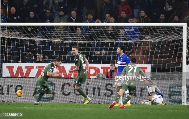 Diego Demme of SSC Napoli celebrates after scoring goal to make it 23 during the Serie A match between UC Sampdoria and SSC Napoli at Stadio Luigi...