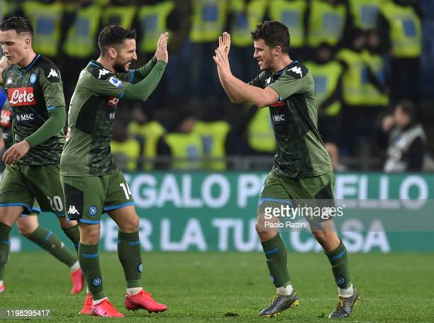 Diego Demme of SSC Napoli celebrates with Dries Mertens after scoring a goal to make it 23 during the Serie A match between UC Sampdoria and SSC...