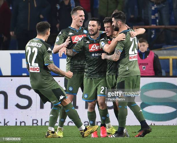 Diego Demme of SSC Napoli celebrates with teammates after scoring goal 23 during the Serie A match between UC Sampdoria and SSC Napoli at Stadio...