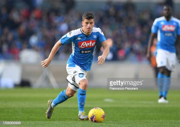 Diego Demme of SSC Napoli during the Serie A match between SSC Napoli and US Lecce at Stadio San Paolo on February 09, 2020 in Naples, Italy.